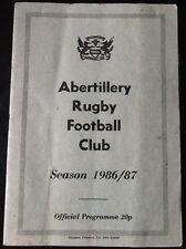 1987 ABERTILLERY v BRIDGEND  programme