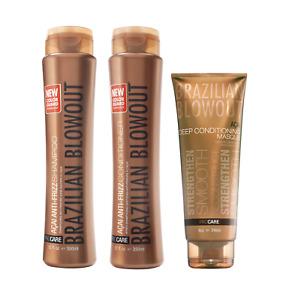 Brazilian Blowout Anti-Frizz Shampoo + Conditioner + Deep Conditioning Masque