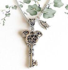 Silver Minnie Mouse Key Love Charm Necklace Mickey Disney handmade butterfly 2