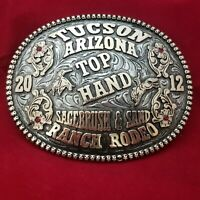 RODEO TROPHY BUCKLE 2012 TUCSON ARIZONA RANCH RODEO TOP HAND CHAMPION COWBOY 306