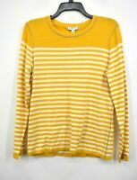 Tommy Hilfiger Womens Yellow Cotton Long Sleeves Stripe Crewneck Sweater $69