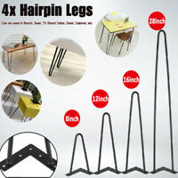 2-Rod Hairpin Solid Iron Metal Coffee Table Leg Desk Furniture Legs (Set of 4 )