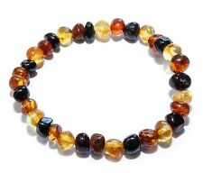 Genuine Baltic Amber Beads Adult Bracelet Mixed Stretch Polished 6 g