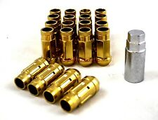 NNR PERFORMANCE EXTENDED STEEL LUG NUTS W/ LOCK FOR HONDA AND ACURA 12X1.5 GOLD
