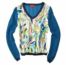 New Missoni for Target Size L Blue Floral Chiffon Wave Stripe V-Neck Sweater