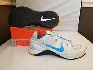 Nike Metcon DSX Flyknit 2 Men Shoes White Blue Pure Plat 924423 140 Size 10 & 9