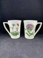 2 Portmeirion Botanic Garden Mandarin Mugs Daisy & Sweet William 12 oz England