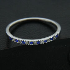 Blue Sapphire with Natural Diamond Wedding Band Anniversary Ring 10K White Gold