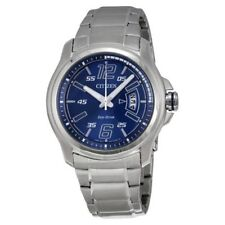 Citizen AW1350-83M HTM Mens Stainless Steel Blue Dial Eco Drive Date Watch