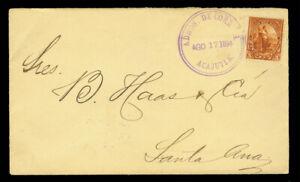 EL SALVADOR 1894. AUG. 17th  5c brown ACAJUTLA to Santa ANA internal cover
