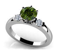 1.00 CT Three Stone Green & White Diamond Ring Engagement Wedding Band 14k WG