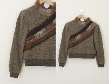 Amazing Vintage Boucle Rabbit Trim Mock Neck Long Sleeve Sweater Top S