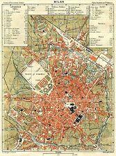 Pianta di Milano. Carta Topografica,Geografica.Stampa Antica + Passepartout.1883