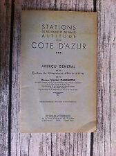 PASCHETTA V. - Stations de moyenne et de haute altitude de la Côte d'Azur.