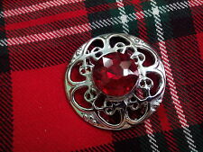 TC New Celtic Brooch Fly Plaid Red Stone/Kilt Fly Plaid Brooch Red Stone Chrome