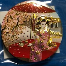 F/S Japanese Maiko Cherry Blossom Metal Engraving Fridge Magnet from Kyoto Japan