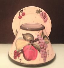 Large JAR CANDLE SHADE & PLATE Grapes Apple Pear Cherry FRUIT fits 14.5 & 22 oz