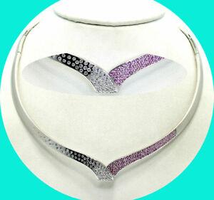 2.0CT! F-G VS2 Diamond pink sapphire wave choker necklace 18K WG round brilliant