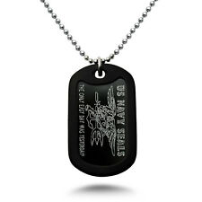 U.S. Navy Seals Logo + Psalm 23:4 Verse Military Style Aluminum Dog Tag Necklace