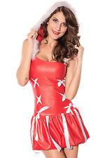 Women's Sexy Vinyl Christmas Princess Fancy Dress Costume with Hood