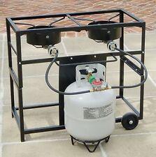 New 2 Two Gas Burner Frying Cart Rack Portable Outdoor Cooker Propane King Kooke