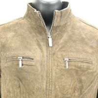 Ruff Hewn Leather Suede Womens Size M Medium Brown Fitted Casual Moto zipper