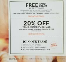 Bath & Body Works Coupon - 20% Off Entire Purchase Store & Online +Gift 11/8/20