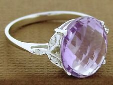 R099 Superb 9K Solid White Gold Natural Amethyst & Diamond Solitaire Ring size O