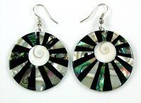 Paua Abalone Shell Mother of Pearl Shiva Eye Drop Dangle earrings Jewelry AA187