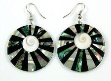 PAUA ABALONE,MOTHER-OF-PEARL,SHIVA EYE earrings;AA187