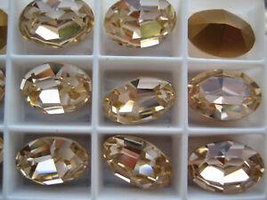 18 Swarovski Crystal Oval Rhinestones 14x10 Light Peach 4100 CUTE CORAL COLOR !!