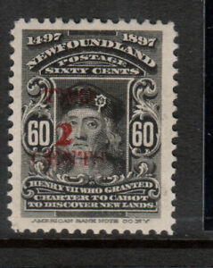 Newfoundland #74E-2 Very Fine Never Hinged With Trial Red **With Certificate**