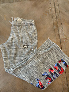VICTORIA'S SECRET PINK SWEAT PANTS Sz Medium COMFORT STRETCH Gray Raw Hem