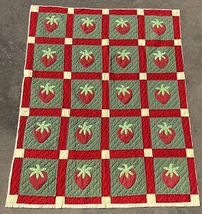 "Vintage ? Handmade Hand Stitched Quilt Coverlet 84"" X 68"" Strawberries Appliqué"