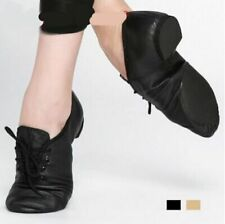 Pig Leather Lace-Up Jazz Dance Shoes Soft Ballet Sneakers Men Women Professional