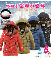 Kids Boys Duck Down thick Jacket Warm Hooded Coat Padded Parka Quilted Snowsuit