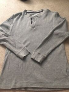 Boys Gray Long sleeve Henley Top  Old Navy Size L GENTLY  Used
