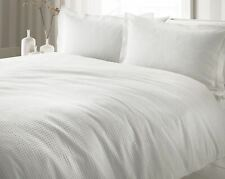 TEXTURED WAFFLE WHITE 100% COTTON  DOUBLE DUVET COVER