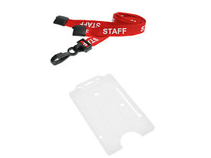 ID Card Holder Clear Vertical and STAFF Neck Strap Lanyard