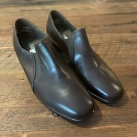 Munro American Women's Brown Leather Slip On Loafers Low Heels Shoes Size 7.5 W