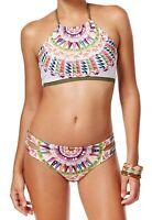 Bar III Women's Cartwheels 2-Piece Bikini Swimsuit Set, Multi-Color, Small S
