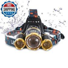 Brightest Led Headlamp 6000 Lumen Flashlight 2X 5000 Mah Rechargeable 18650 Head