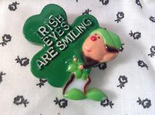 St. Patrick's Day Elf Holding a Shamrock Hong Kong Vintage Brooch