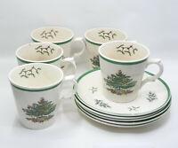 LOT OF 5 VINTAGE SPODE CHRISTMAS TREE S3324 ENGLAND COFFEE MUG & SAUCER