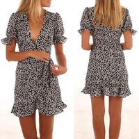 Womens Summer Boho Floral Party Evening Beach Short Mini Dress Sundress S M L XL