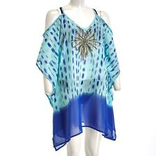 SD Women's Plus Size Swimwear Cover-Up Caftan NWT Embellished Blue Print 2X