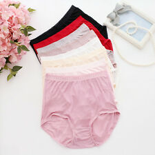 1X 100% Pure Silk Briefs Panties Lady Plus Size High Waist Underwear Breathable