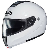 HJC C90 Plain Gloss White Flip Up Motorcycle Helmet EZ
