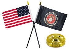 "Marines USMC Black w/ USA American Flag 4""x6"" Desk Set Table Stick Gold Base"