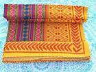 On+SaleEthnic+Bedspread+Ralli+Queen+Yellow+Kantha+Quilt+Indian+Handmade+Blanket